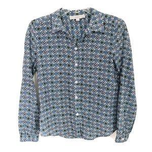 LOFT Blue Floral Button Down Blouse Sz Small